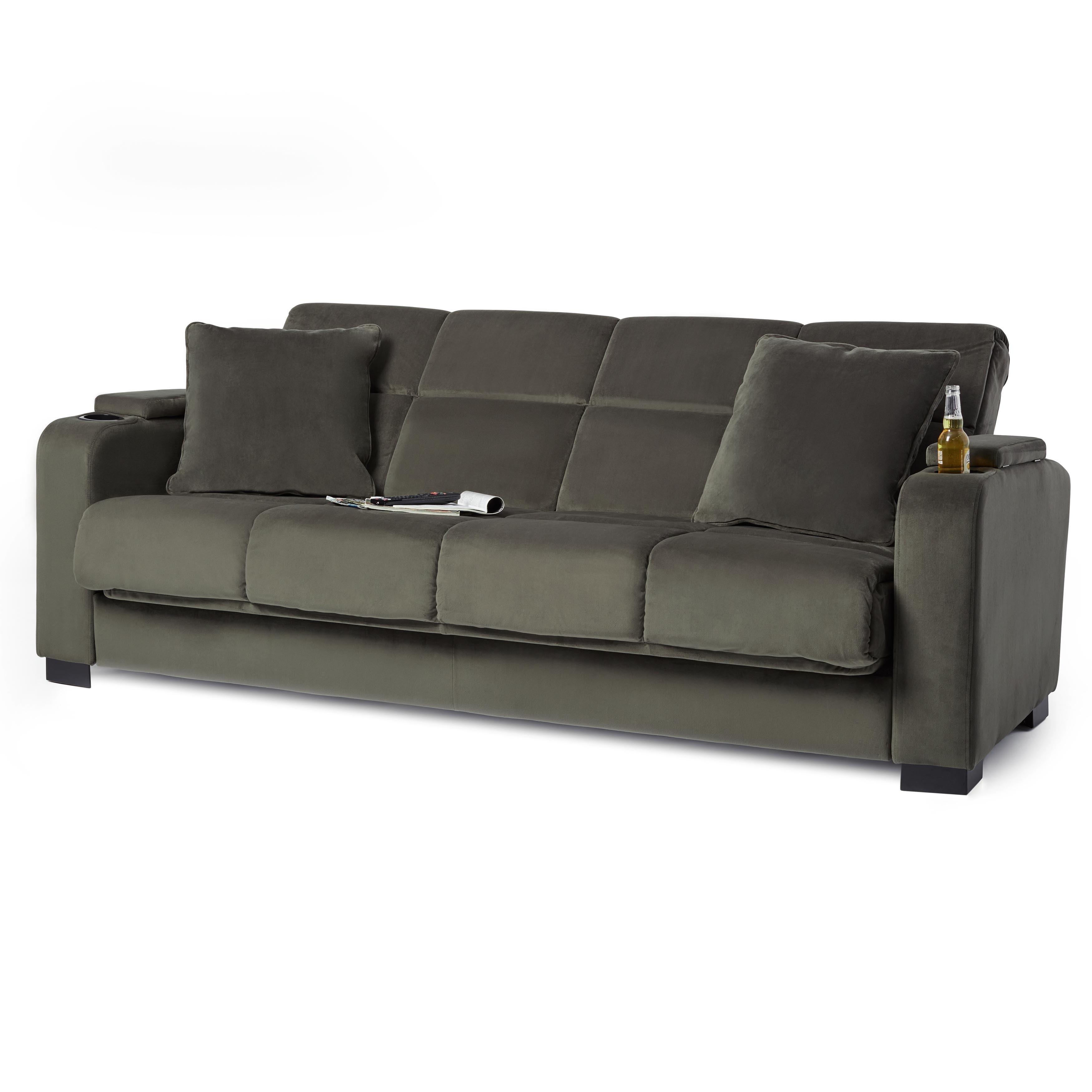 Handy Living Tevin Grey Velvet Convert-a-Couch Futon Sofa Sleeper -  Walmart