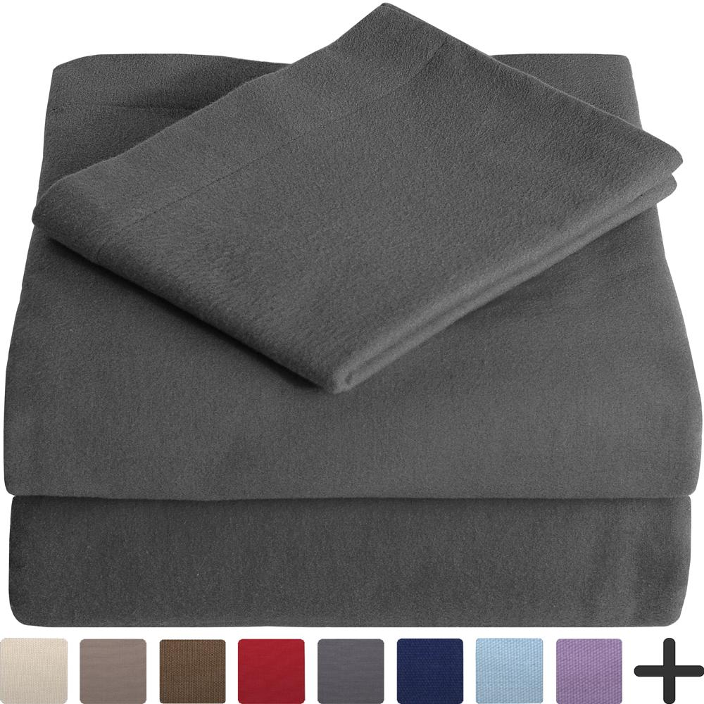 100% Cotton Velvet Flannel Sheet Set - Extra Soft Heavyweight - Double Brushed Flannel - Deep Pocket (Queen, Grey)