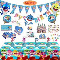 147 Pc Baby Shark Party Supplies, Includes Paper Plates, Napkins, Tablecloth, Cupcake & Cake Topper, Cone Hats, Whistles,Helium Balloons, Birthday & Pennant Banner, Invitation Cards, Gift Bags