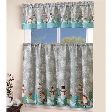 MarCielo 3 Piece Printed Western santa snowman Kitchen/Cafe Curtain With Swag and Tier Window Curtain Set, Grey ()