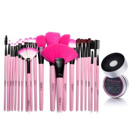 Zodaca Pink Pro 24Pcs Pouch Bag Case Cosmetic Makeup Brush Set Kit + Switch Duo Sponge Color