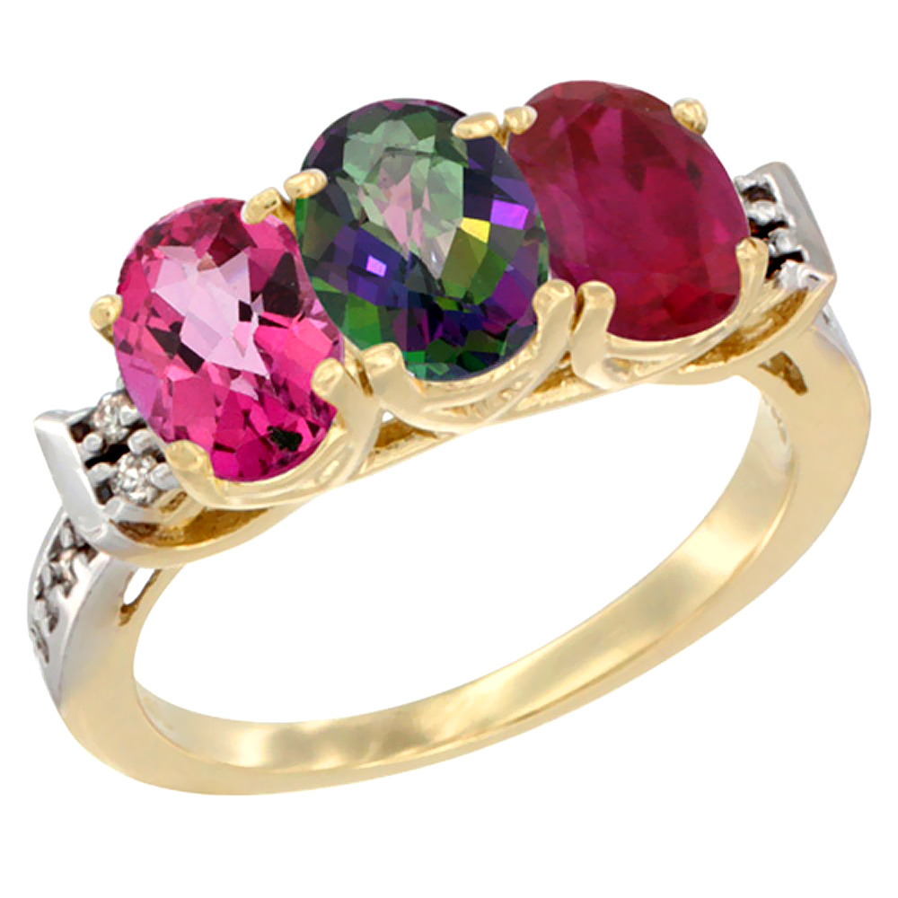 10K Yellow Gold Natural Pink Topaz, Mystic Topaz & Enhanced Ruby Ring 3-Stone Oval 7x5 mm Diamond Accent, sizes 5 10 by WorldJewels