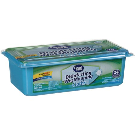 - Great Value Disinfecting Wet Mopping Cloths, 24 Count