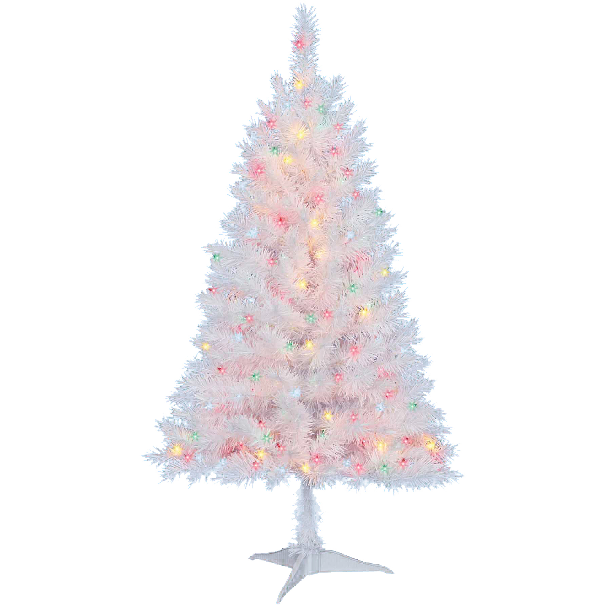 Holiday Time Pre-Lit 4\' Indiana Christmas Tree, White, Multi-Colored ...