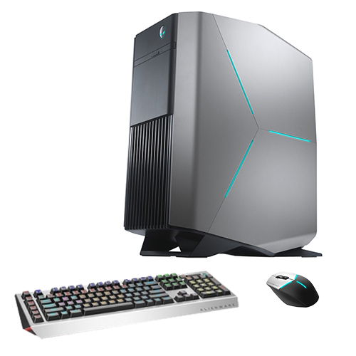 Alienware Aurora R7 Gaming Desktop Computer Intel Core i7 GeForce GTX 1080 Ti 11GB Silver Bundle  -  Pro Gaming Keyboard black & gray - Advanced Gaming Mouse black & silver - 8th Gen i7-8700K