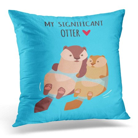 BOSDECO Romantic Valentine's Day Cute Kawaii Characters Cartoon Style Funny Pun Quote Otter Couple Pillowcase Pillow Cover Cushion Case 18x18 inch - image 1 de 1