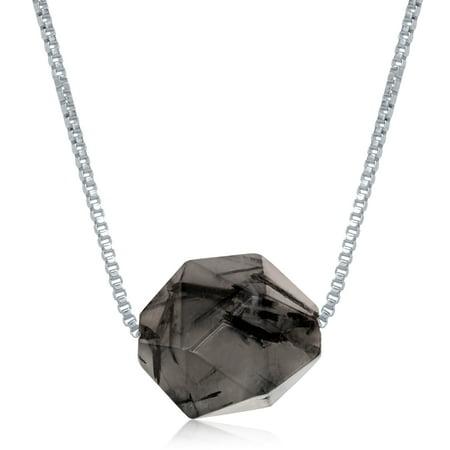 Green Rutilated Quartz Necklace - Sterling Silver Natural Balck Rutilated Gemstone Pendant 18
