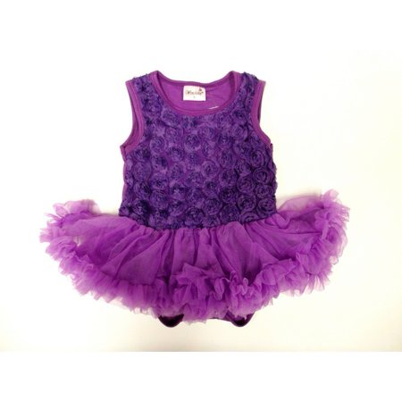 Purple Rose Sleeveless Tutu Baby Girl Bodysuit S-L