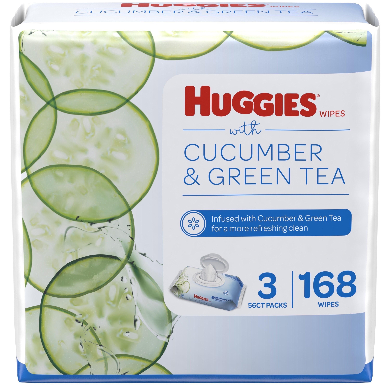 Huggies Cucumber & Green Tea Wipes, Scented, 3 Flip-Top Packs (168 Wipes Total)