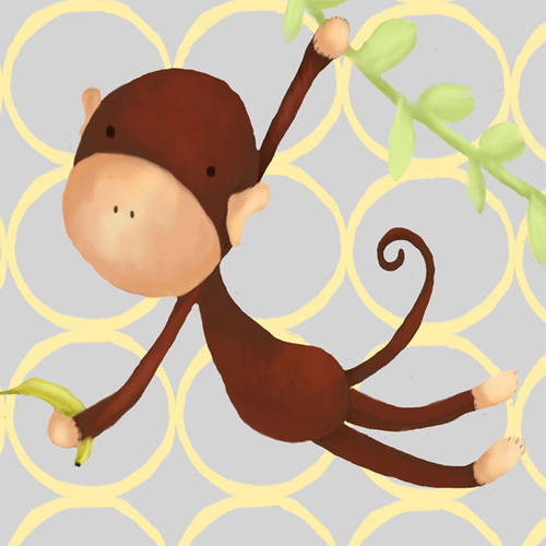 Oopsy Daisy's Hanging Monkey Yellow & Grey Canvas Wall Art, 10x10