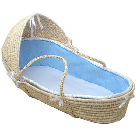 badger basket natural hooded moses basket with blue waffle. Black Bedroom Furniture Sets. Home Design Ideas