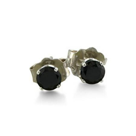 1/4ct Black Diamond Stud Earrings in 10k White Gold