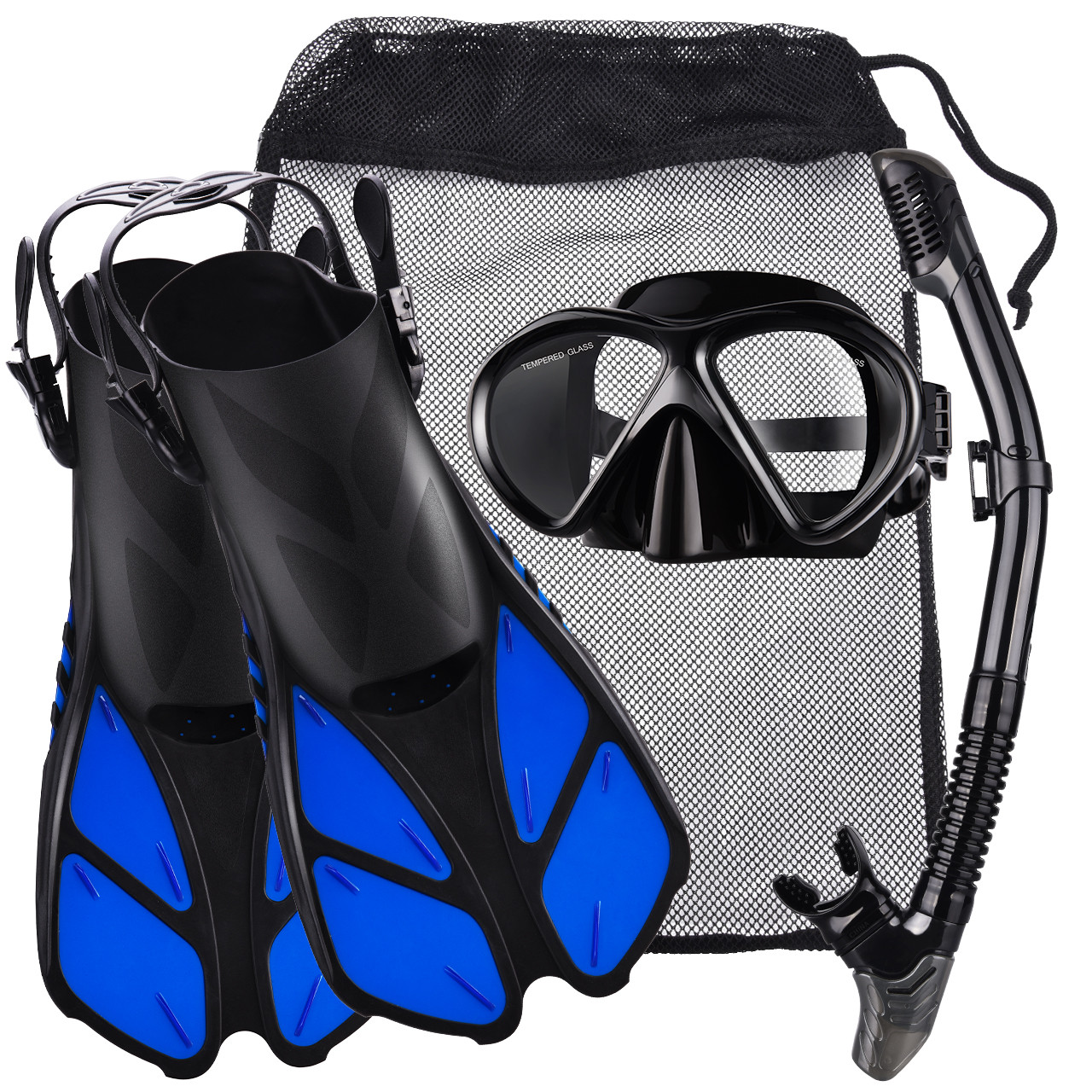 VicTsing Snorkel Set with Tempered Glass Diving Mask, Dry Snorkel and a Pair of Adjustable Trek Fins, a Mesh Bag Included, Size S (Fits for Size S and Size M) – Black