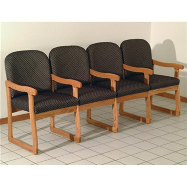 Wooden Mallet DW7-4LOWR Prairie Four Seat Chair with Center Arms in Light Oak - Watercolor Rose