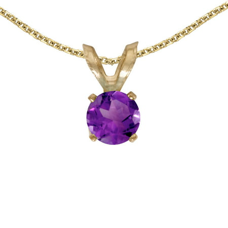 10k Yellow Gold Round Amethyst Pendant with 16