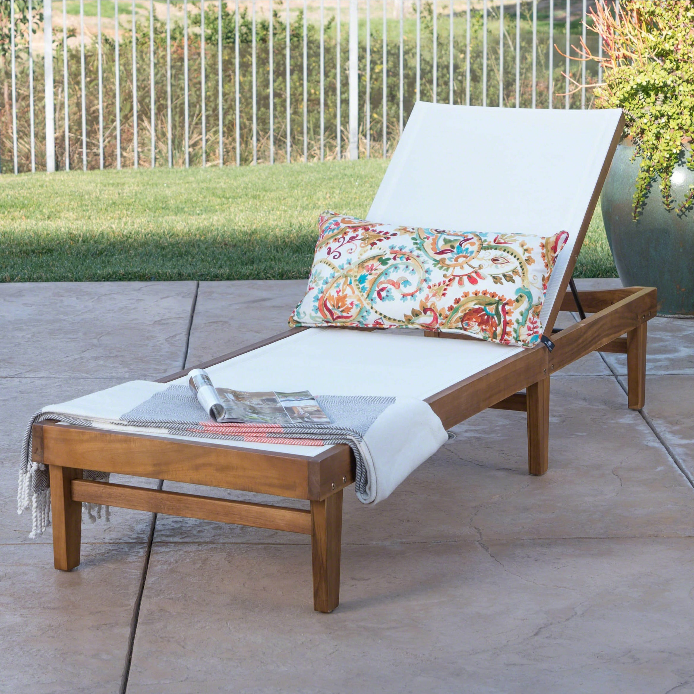 Christopher Knight Home Summerland Outdoor Acacia Wood Mesh Chaise Lounge by