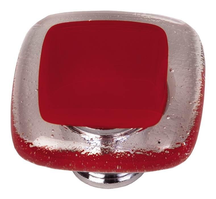 1.25 in. Knob in Red (Satin Nickel)