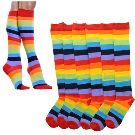 6 Pairs Rainbow Women Socks Multi-color Pride Soccer Striped Knee High Size 9-11