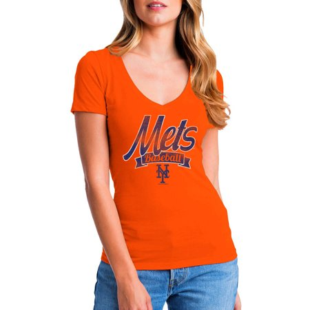 MLB New York Mets Women's Short Sleeve Team Color Graphic Tee (New York Mets Hand Signed)