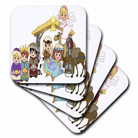 3 Wisemen Set (3dRose Cute Nativity With Three Wise Men and Angel Illustration, Soft Coasters, set of 4 )