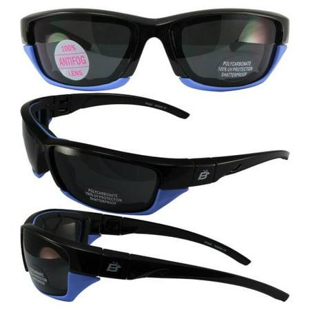 Birdz Eyewear Oriole-2 Padded Motocycle Riding Sunglasses Black and Light Blue Frame Smoke Lens With Removable Foam (Sunglasses With Removable Lenses)