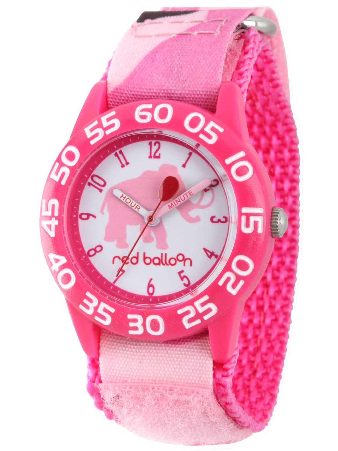 Mammoth Girls' Pink Plastic Time Teacher Watch, Pink Camo Hook and Loop Nylon Strap