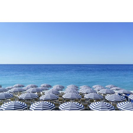 Blue and white beach parasols, Nice, Cote d'Azur, Alpes-Maritimes, Provence, French Riviera, France Print Wall Art By Fraser