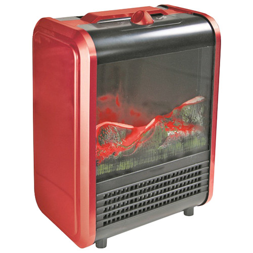 Comfort Zone Mini Electric Fireplace Space Heater, Red