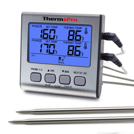Meat Probe Thermometer - ThermoPro TP17 Dual Probe Cooking Meat Thermometer Large LCD Backlight Food Grill Thermometer with Timer Mode for Smoker Kitchen Oven BBQ