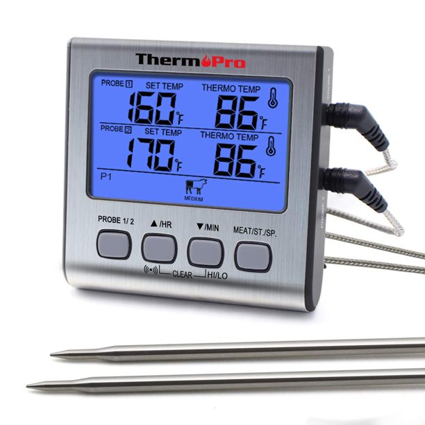 ThermoPro TP17 Dual Probe Cooking Meat Thermometer Large LCD Backlight Food Grill Thermometer with Timer Mode for Smoker Kitchen Oven BBQ - Walmart.com - Walmart.com