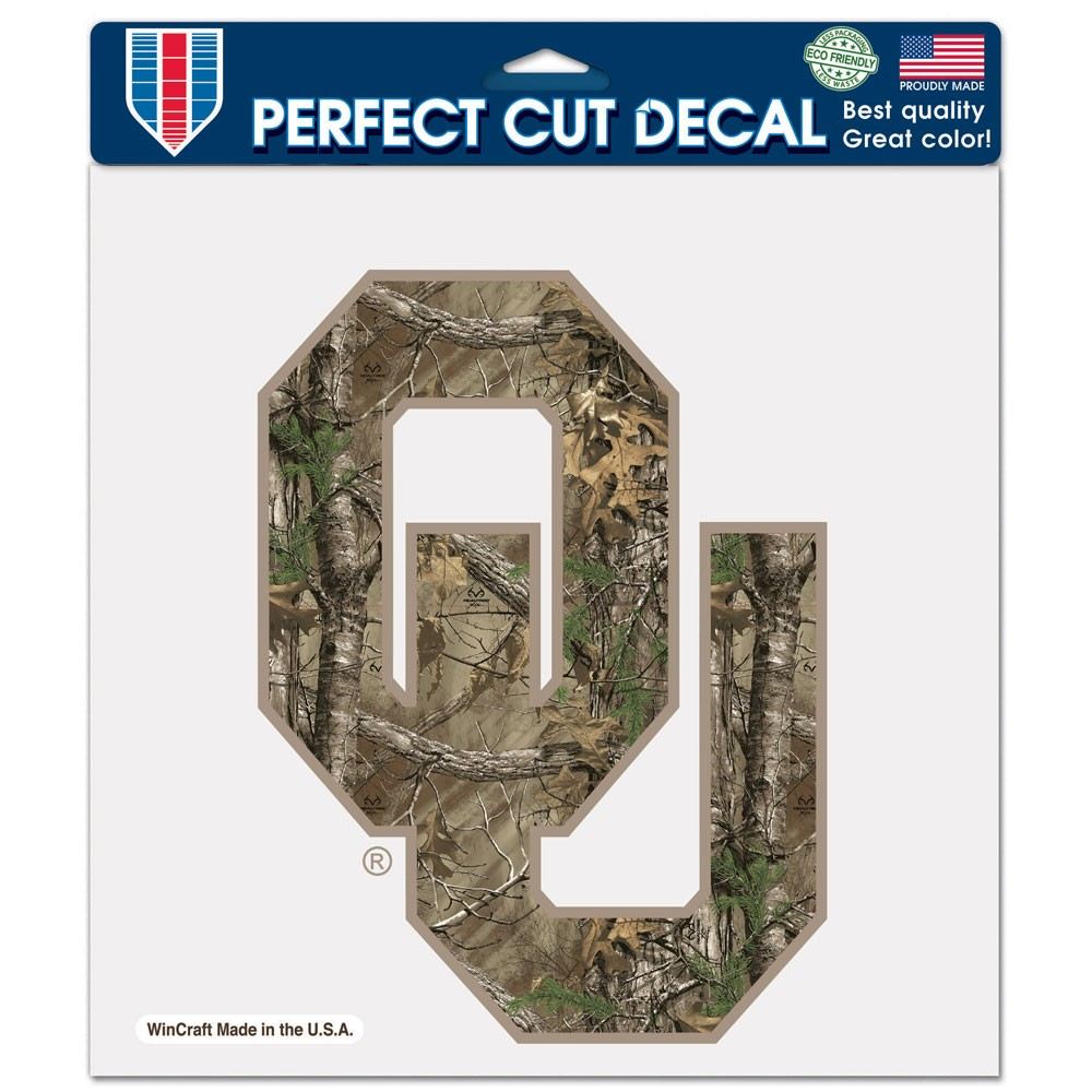 Oklahoma Sooners Official NCAA 8 inch  x 8 inch  Camo Die Cut Car Decal by WinCraft