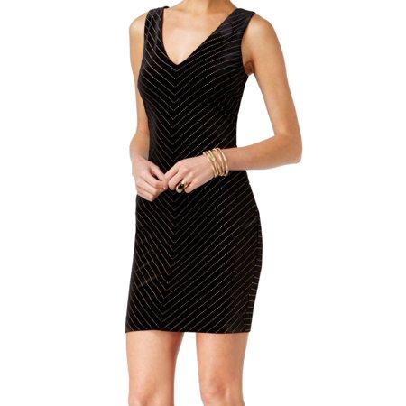 fe4fb53e89fc Guess NEW Black Womens Size 8 V-Neck Dot Print Velvet Sheath Dress ...