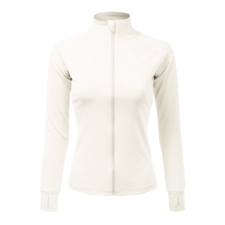 Doublju Women's Athletic Jackets Full-Zip Workout Active Sports Coats with Thumb Holes WHITE XL ()