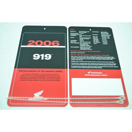 2006 919 Sign Dealership Hang Tags Hang tags are new but not in original packaging. Comes with two tags.
