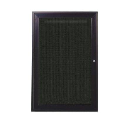 Ghent PB12418F-95 24 in. x 18 in. 1-Door Bronze Aluminum Frame Enclosed Fabric Tackboard - Black