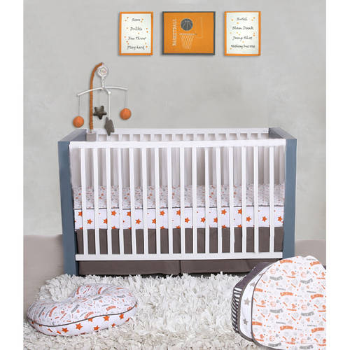 Bacati Basketball Orange/Grey 100 Percent Cotton Breathable Muslin 3pc Boys Crib Set with 4 Layer Lux Breathable Muslin Blanket Crib Fitted Sheet and Crib Skirt For US Standard Cribs