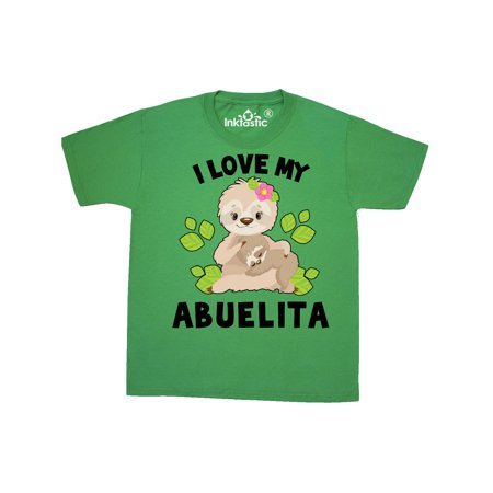 Cute Sloth I Love My Abuelita with Green Leaves Youth T-Shirt