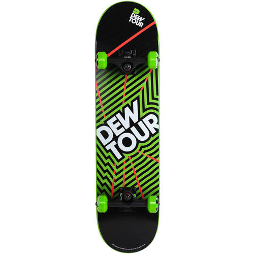 Dew Tour Dipped-Finish Skateboard, Black and Green
