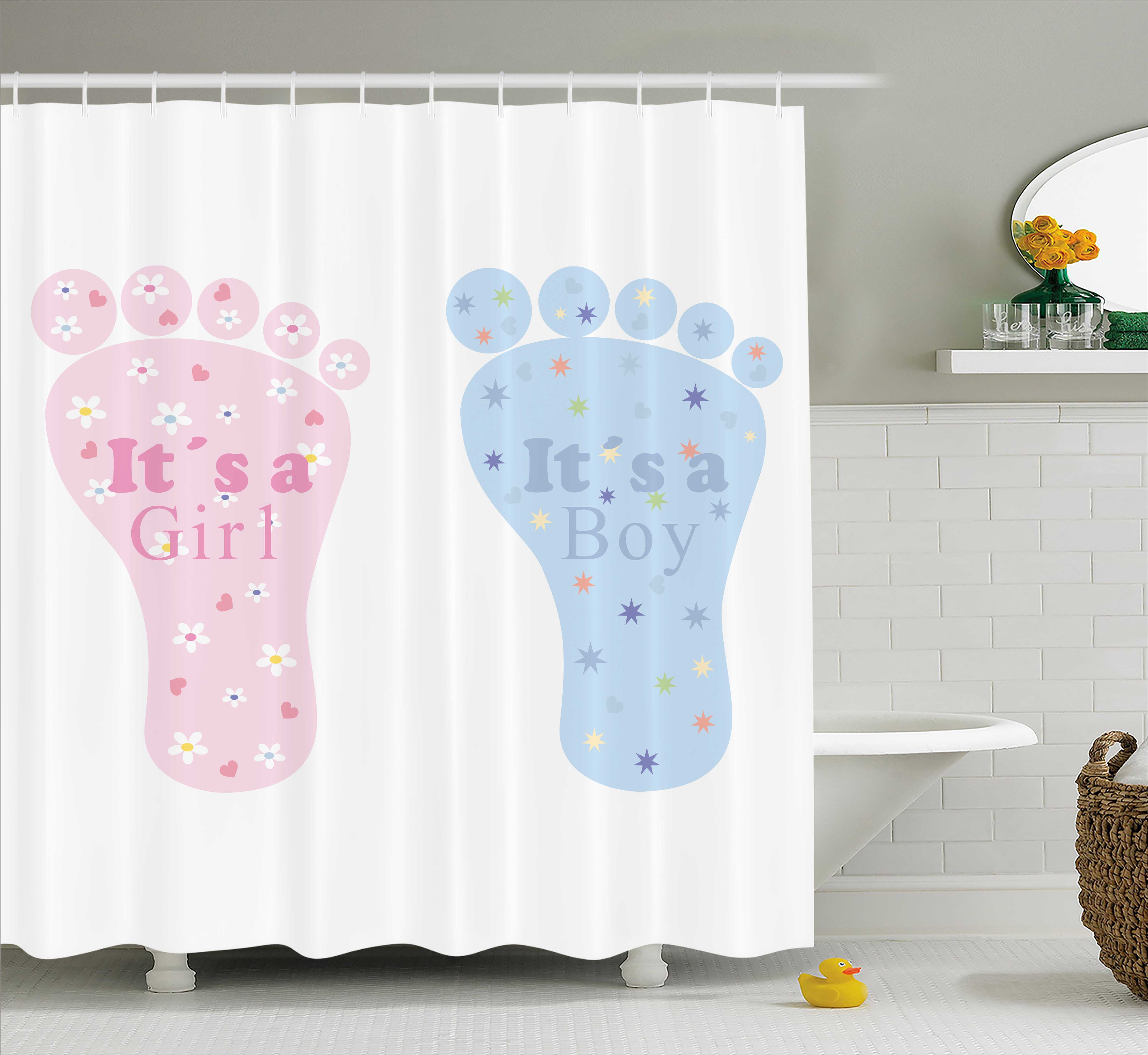 Baby Blue Bathroom Set: Gender Reveal Shower Curtain, Baby Footprints And Floral