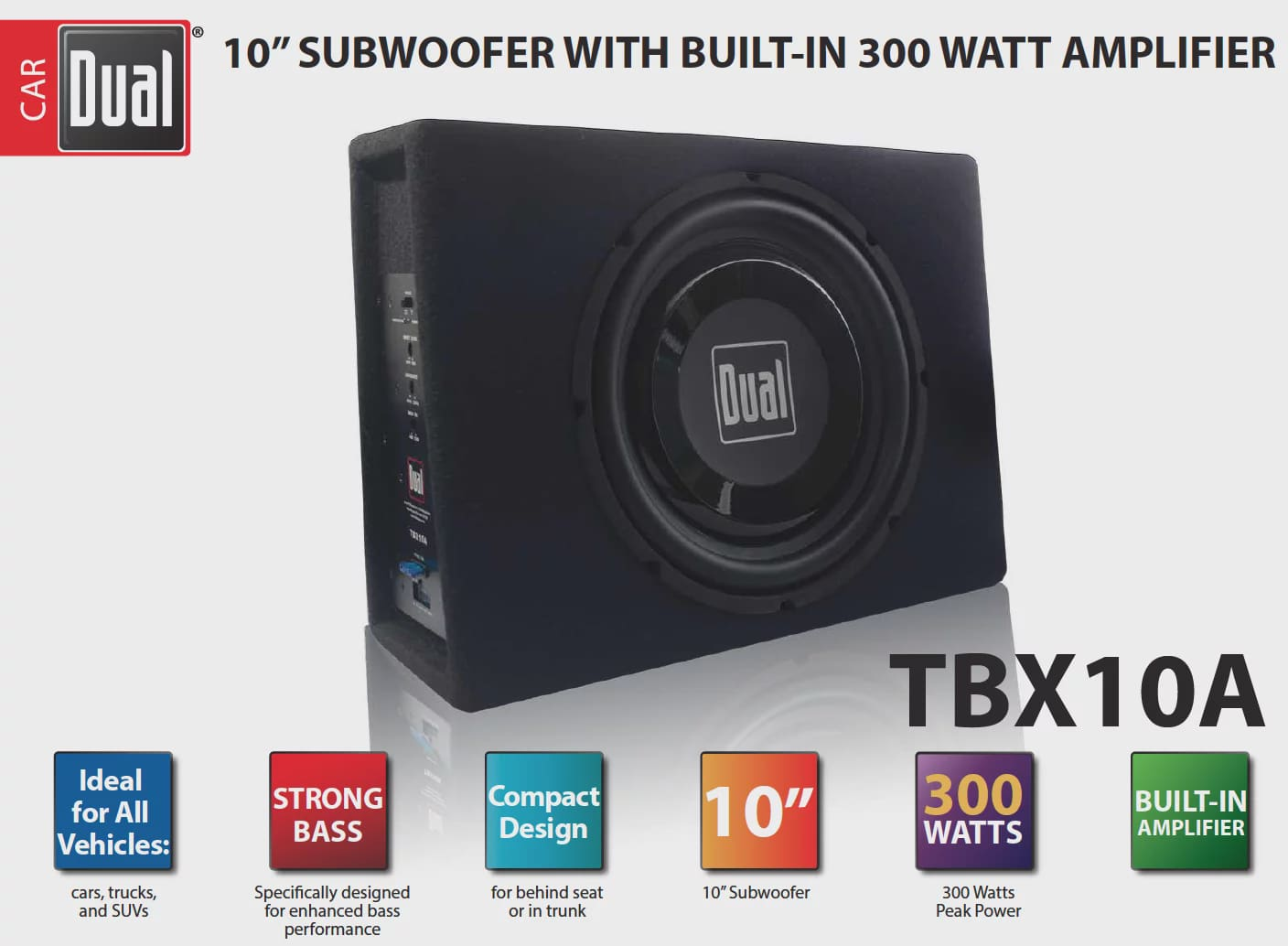 Dual Electronics Tbx10a 10 Inch Shallow High Performance Powered Watt Power Amplifier Enclosed Subwoofer With Built In 300 Watts Of Peak