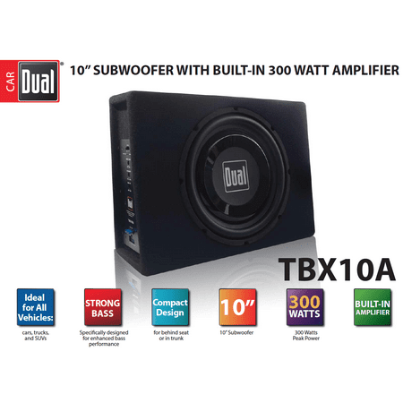 Dual Electronics TBX10A 10 inch Shallow High Performance Powered Enclosed Subwoofer with Built-In Amplifier & 300 Watts of Peak Power Dual Down Fire Subwoofer