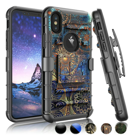 iPhone X Case,iPhone X Phone Cover, iPhone X Sturdy Case,Njjex [Heavy Duty] Armor Shock Proof Dual Layer [Swivel Belt Clip] Holster with [Kickstand] Combo Rugged Case For iPhone X -Gear
