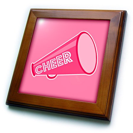 3dRose Cheer Megaphone Art Pink - Framed Tile, 6 by 6-inch - Cheer Megaphone Design Ideas