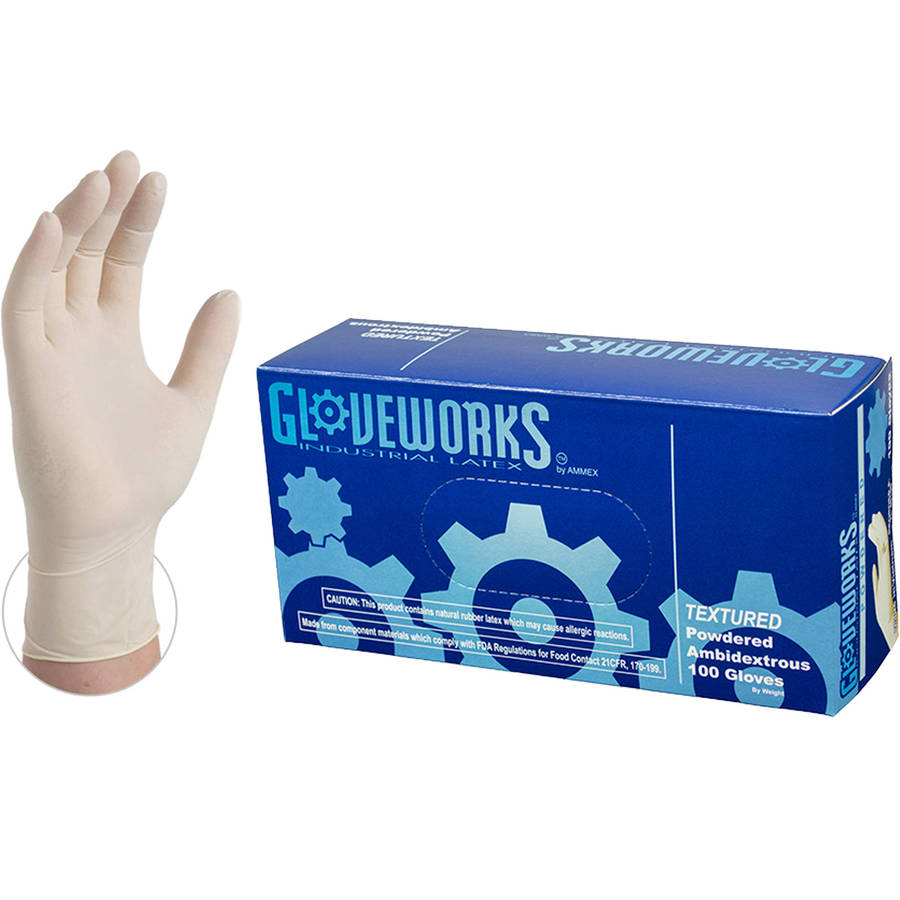 Gloveworks Ivory Latex Powdered Industrial Disposable Gloves by AMMEX, 100 Gloves