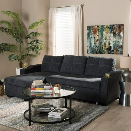 Baxton Studio Lianna Modern and Contemporary Dark Grey Fabric Upholstered Sectional Sofa