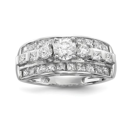 Sterling Silver 22 MM CZ Ring, Size 6 ()