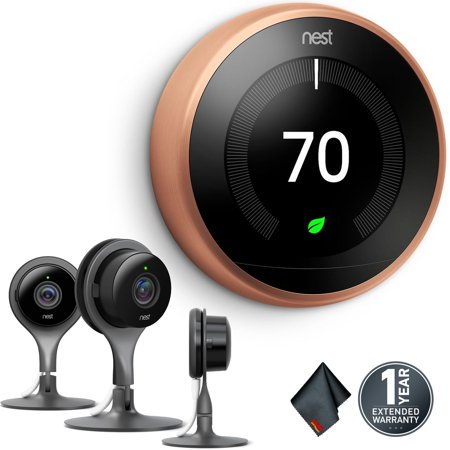 Nest Learning Thermostat (3rd Generation, Copper) + Nest Cam Indoor Security Camera (Pack of 3, Black)