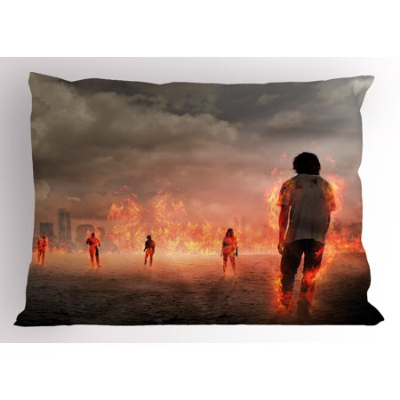 Zombie Pillow Sham Group Of People In A Flame In The Water Under Storm Clouds Image  Decorative Standard Queen Size Printed Pillowcase  30 X 20 Inches  Pearl Egg Shell Vermilion  By Ambesonne
