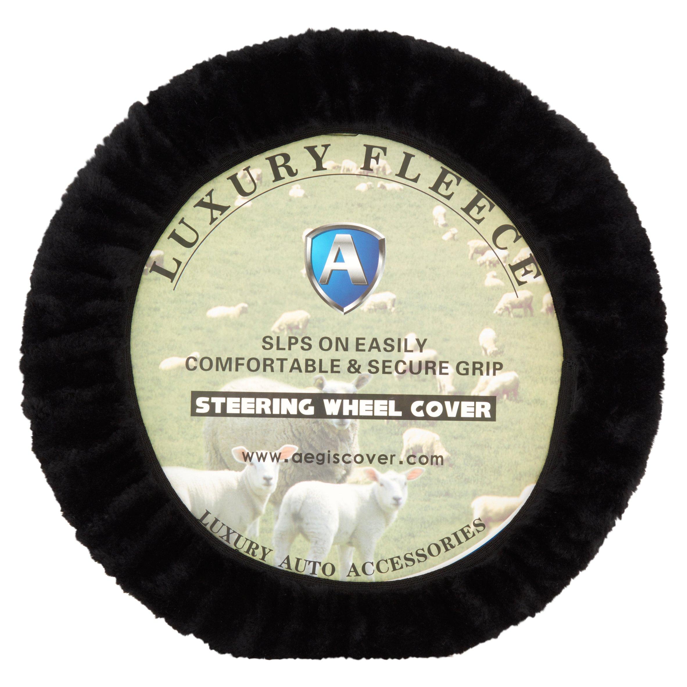 Aegis Cover Luxury Fleece Steering Wheel Cover