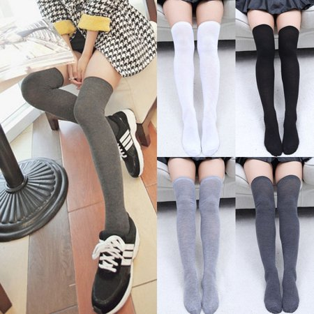 Black And White Striped Stockings (Women Knit Cotton Over The Knee Long Socks Striped Thigh High Stocking)